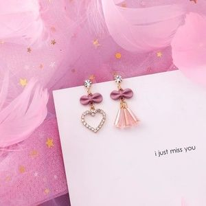 Gold and Pink bow and heart Earrings
